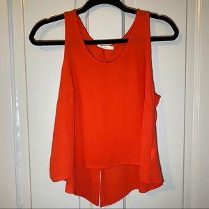 Lush Bright Red Sleeveless Top w/Back Slit